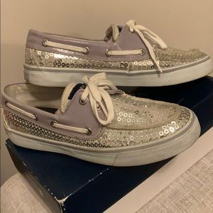 Sperry Top-Sider Bahama Silver Sequin Shoes